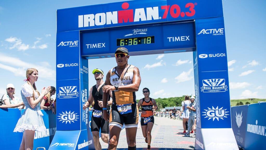 Triathlete crossing the finish line