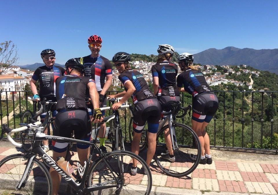 Cycling team having fun